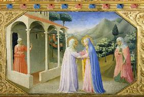 The meeting of Maria and Anna. Predella of the alt
