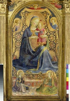 Maria with the Jesuskind sitting enthroned, of ang