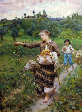 Shepherdess carrying a bunch of grapes