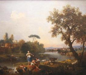 Landscape with a Boy Fishing, c.1740-50 (oil on canvas)