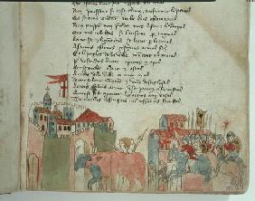 Ms Est 27 W 8.17 f.6r Peasants entering a town with their cattle and the arrival of Attila's army, f