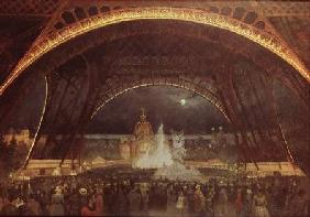 Celebration on the night of the Exposition Universelle in 1889 on the esplanade of the Champs de Mar