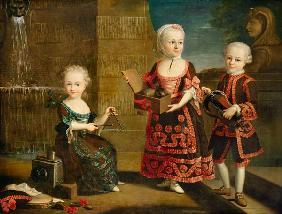 A Girl with a Marmoset in a Box, Girl with Triangle sitting on a Magic Lantern and a Boy with a Hurd