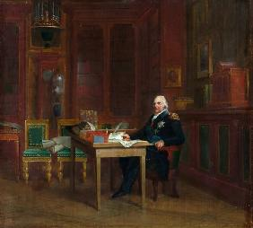 Louis XVIII (1755-1824) in his Study at the Tuileries