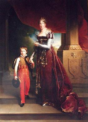 Marie Amelie de Bourbon (1782-1866) Duchess of Orleans and her Son Duke of Chartres