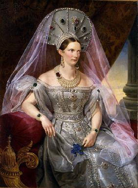 Portrait of Empress Alexandra Fyodorovna (Charlotte of Prussia), in kokoshnik