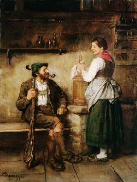 Hunter and maid in the Kuchl at happy Geplauder