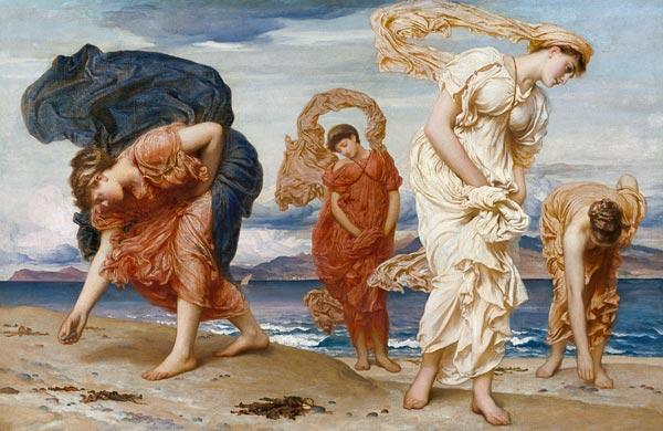 Greek Girls Picking up Pebbles by the Sea