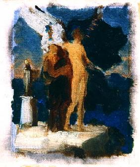 Sketch for 'Daedalus and Icarus', c.1869 (oil on canvas)