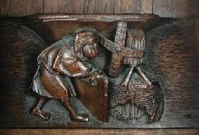Carving of a miller, from a choir stall