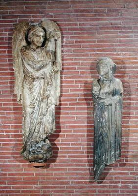 Figures of the Annunciation, from the exterior of Saint-Sernin, Toulouse