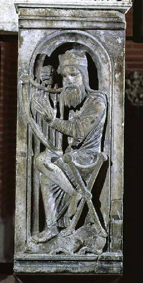 King David tuning his harp