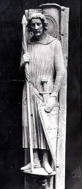 St. Theodore dressed as a Knight, relief carving