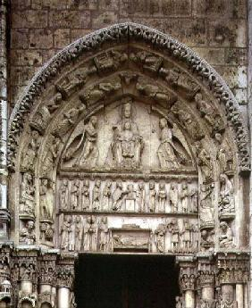 View of the tympanum depicting the Madonna and Child Enthroned, South Door of the Royal Portal