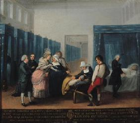 The Visit of Monsieur and Madame Necker to the Hopital de la Charite, 1780 (oil on canvas)