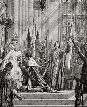 St. Joan of Arc (1412-31) at the Coronation of Charles VII (reg.1422-61) in 1429 (engraving)