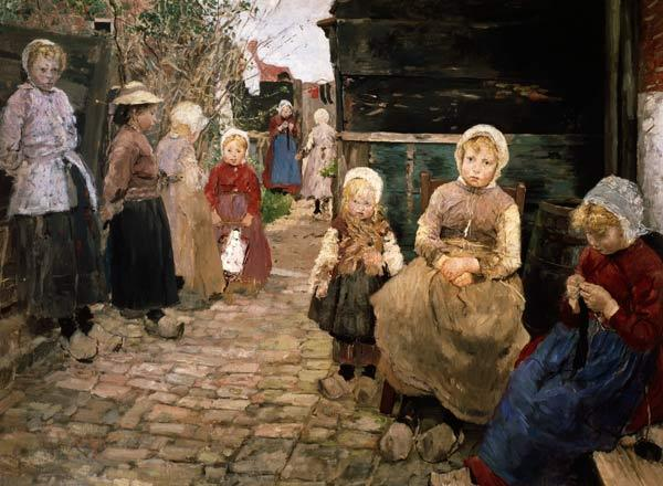 Fisherman children in Sandvoort. (Prestudy to the