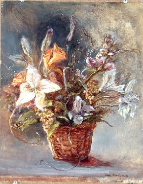 Basket of Flowers (oil on canvas)
