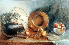 Brass Plate with Fruit and Black Wooden Bowl (oil on canvas)