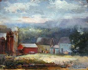 Farm Scene (oil on canvas)