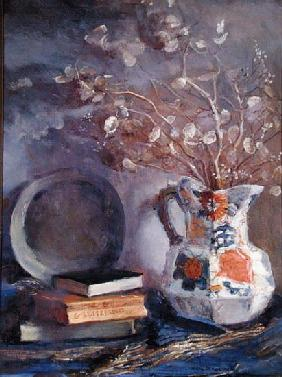 Still Life - Books with Pitcher (oil on canvas)