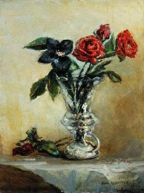 Two Roses in a Glass Vase with Opening Tulip (oil on canvas)