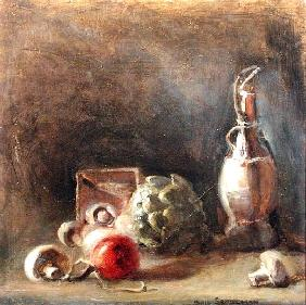 Wine Jug with Artichoke and Mushrooms (oil on canvas)