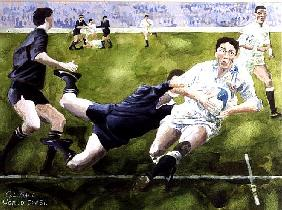 Rugby Match: England v New Zealand in the World Cup, 1991, Rory Underwood being tackled (w/c)