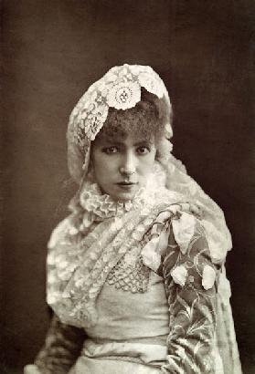 Sarah Bernhardt (1844-1923) in the role of Marion Delorme at the Porte Saint-Martin Theatre (b/w pho