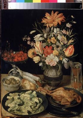 Still life with flowers and snack