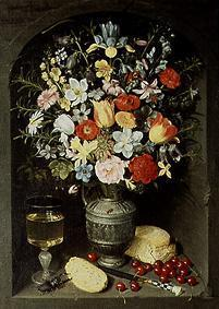 Bouquet of flowers being in a niche in a silver ju