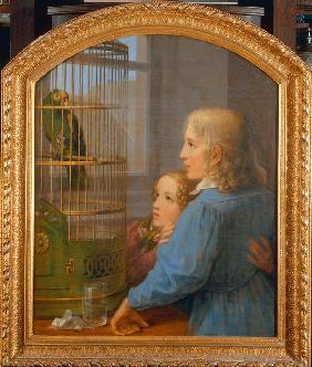 Two Children before a Parrot Cage