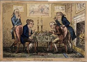 Game of Chess, published by H. Humphrey, London (coloured etching)