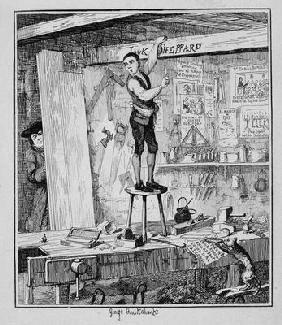 Jack carves his name on a beam in the shop of his former employer, illustration from 'Jack Sheppard: