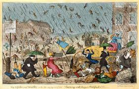 Very Unpleasant Weather, or the Old Saying verified Raining Cats, Dogs and Pitchforks! , pub. G. Hum