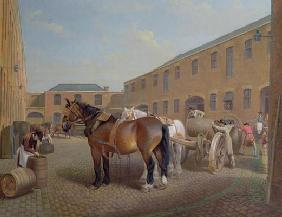 Loading the Drays at Whitbread Brewery, Chiswell Street, London, 1783