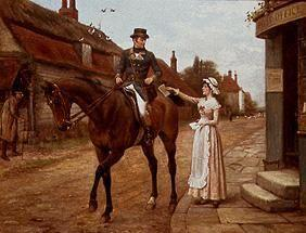 Mounted postman when gathering the post in an Engl