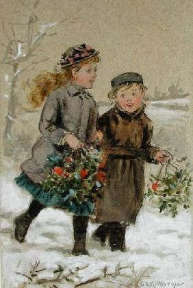 Children Playing in the Snow - Collecting Holly (w/c heightened with white on paper)