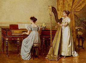 Two women in an interior playing instruments.