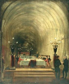 Banquet in Thames Tunnel held on 10th November 1827 to Celebrate the Tunnel's Progress