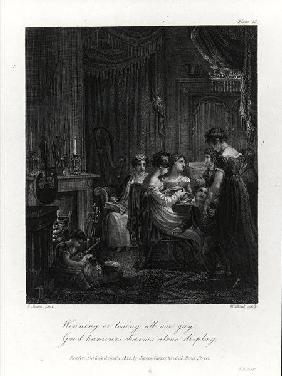 Domestic Scene, from 'The Social Day' by Peter Coxe, engraved by William Bond