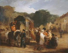 The Village of Waterloo, with travellers purchasing the relics that were found in the field of battl