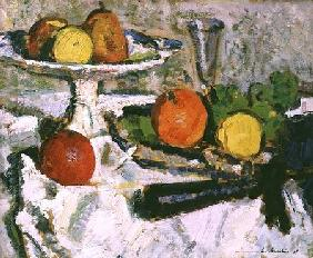 Still Life of Fruit on a White Tablecloth