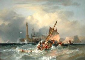 Chambers, George the Elder : Lugger Entering Margate