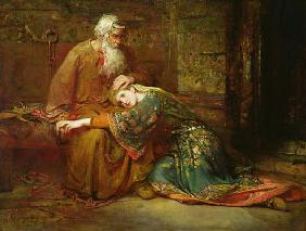 Cordelia comforting her father, King Lear, in prison, 1886 (oil on canvas)
