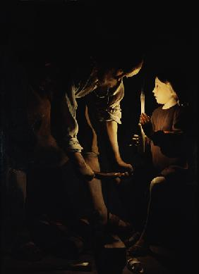 Joseph as a carpenter and the Jesusknabe