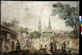 View of the Serebryanichesky Bath Houses in Moscow