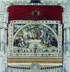 Stage and decorative curtain of the Dresden theatre