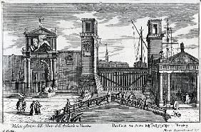 View of the gates at the entrance to the Arsenal in Venice, published Martin Engelbrecht, c.1740s
