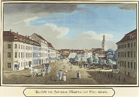 View of the Hackescher Markt and the Church of St. Mary, Berlin